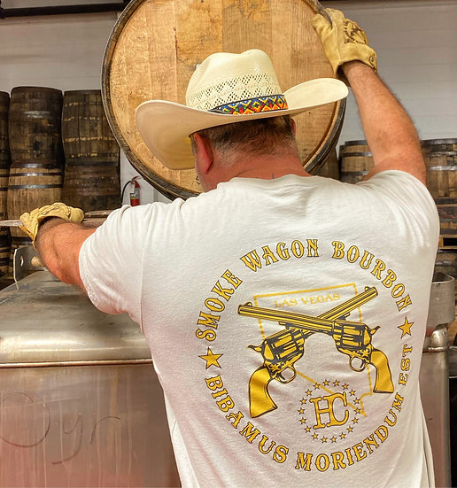 Gold & Gray Smoke Wagon Logo Tee