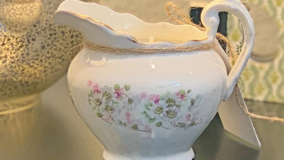 Vintage French Limonges Pitcher - Saffron & White Tea