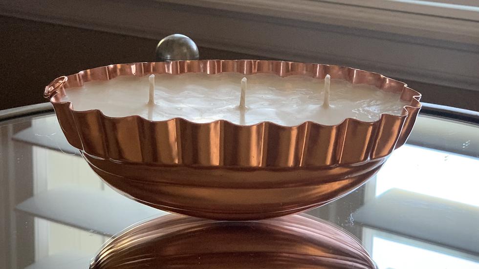 Vintage Oval Copper Jello Mold - 3 Wick - Raspberry Sangria