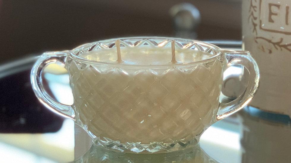 Vintage Double-Handle Glass Bowl - 2 Wick - Rosemary Eucalyptus