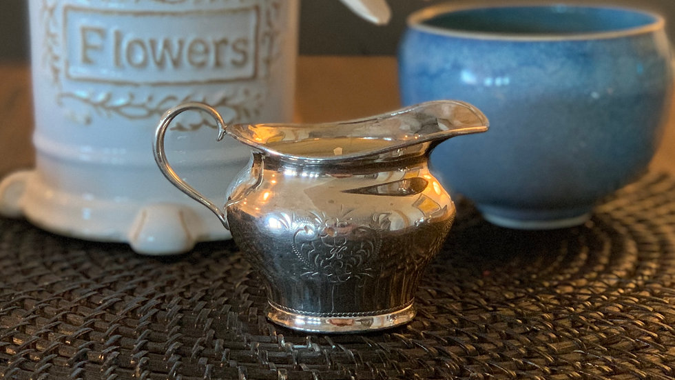 Vintage Engraved Silver Creamer - Mimosa & Mandarin