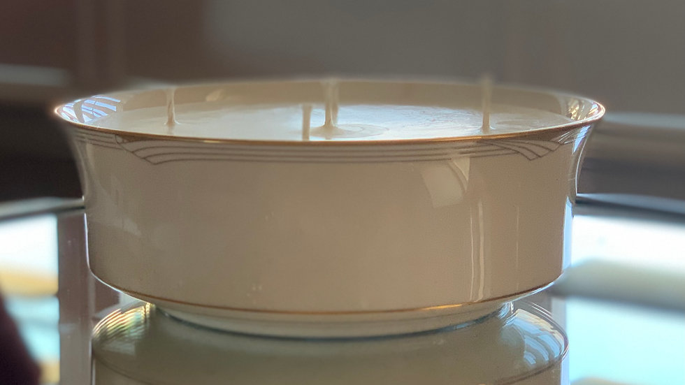 Vintage Art-Deco White and Gold Serving Bowl - 5 wick - Rosemary Eucalyptus