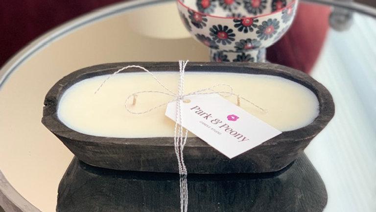 Hand-Carved Paulownia Wood Dough Bowl - Charcoal