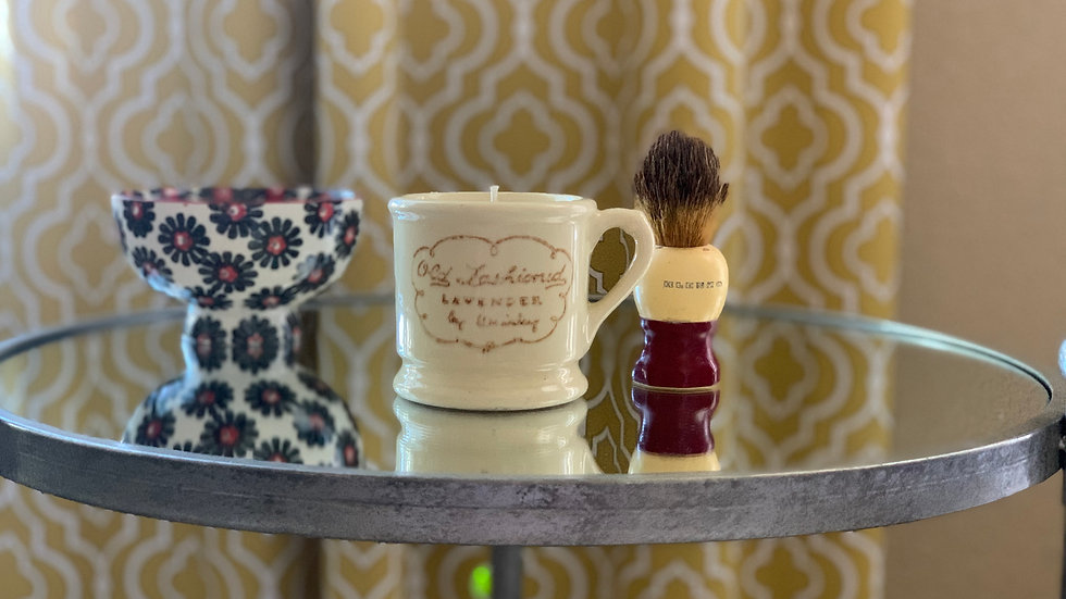 Vintage 1940's Shaving Cup and Brush - Fig Tree