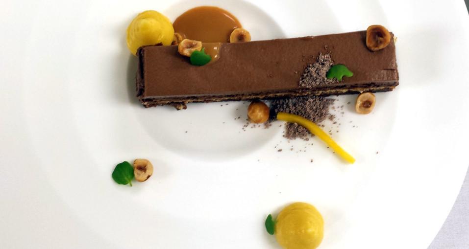 Chocolate Hazelnut Mango Napoleon