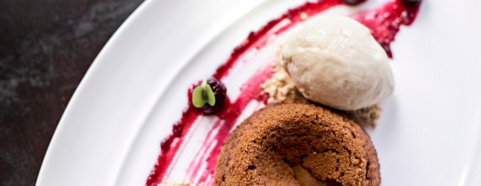 Ozzy Dulce de Leche Cake with Cherry Jam and a Pretzel Ice Cream