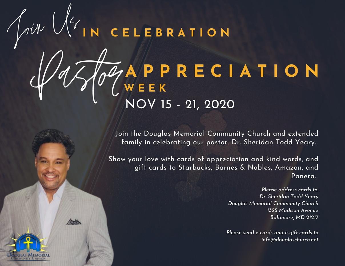 Douglas Memorial Community Church Pastor Appreciation Flyer
