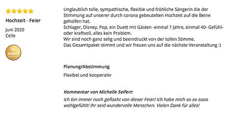 Wow! Einfach nur wow! Michelle ist ein mega sympathischer Mensch & eine wunderbare Sängerin! Extra-wünsche? Kein Problem! Kurzfristig Lieder einstudieren? Kein Problem! Wir sind begeistert und jeder Gast auf unserer Hochzeit auch! Zu 1000% weiterzuempfehlen! Hochzeitsfeier Hochzeit Liebe Musik alles war top. Michelle Seifert Bewertung Google aus Hannover