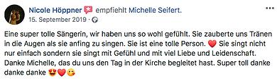 Sängerin Songwriter deutsch und englisch Eventsängerin, Livesängerin Livegesang aus Hannover, Michelle und Michelle Seifert. Wenn Michelle anfängt zu singen, lässt man alles stehen und liegen um ihr zuzuhören.  Ein Genuss für das Ohr und das Auge. Ich durfte sie schon oft live begleiten und sehen, absolut professionell, mitreißend und eine Energiebombe auf der Bühne. Michelle hat mich  von ihrem Talent mehr als überzeugt.Vom Studiogesang, über Solo oder Duo bis hin zu einer fetten Band Performance. Michelle ist immer on Point und eine Bereicherung. Mit Michelle ist der Magic Moment garantiert.   Liebe Michelle, bleib bitte genauso wie du bist und verzauber uns weiter mit deiner einzigartigen Stimme. Dein Wesen und deine Menschlichkeit machen die Welt ein kleines Stück besser. Danke!