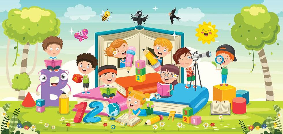 cartoon-children-playing-around-books-ve