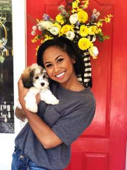 Andolyn Medina and her puppy Knowles