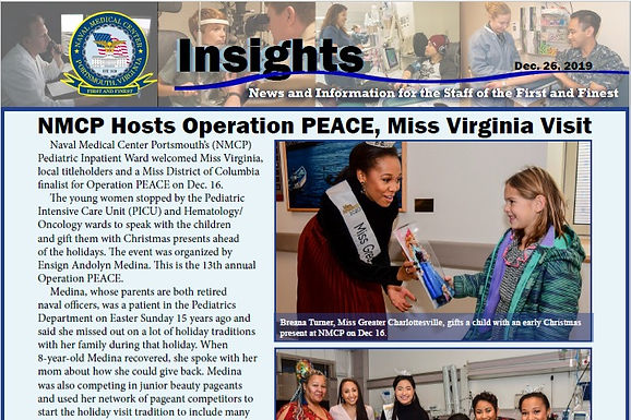 Naval Medical Center Insights Article featuring Andolyn and other local Miss Virginia titleholders