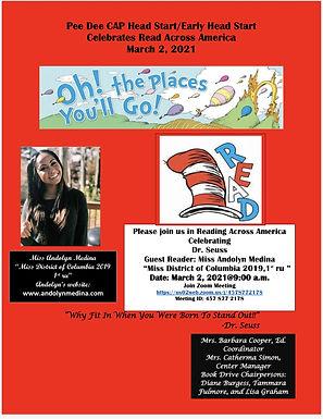 Guest Reader (virtual) for  Lake City/Olanta Head Start, Lake City and Olanta, South Carolina