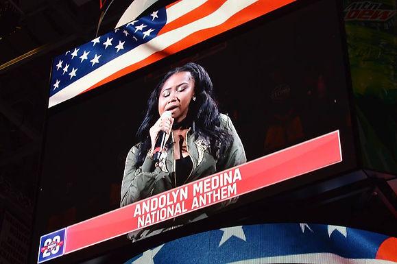 Performing the National Anthem at Washington Mystics Game