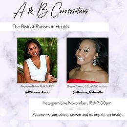 Instagram LIVE presentation on Racism in Health Care.