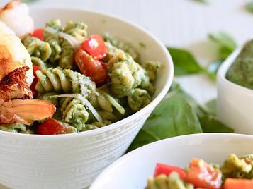Creamy Spinach Pasta with Shrimp (Gluten-Free)