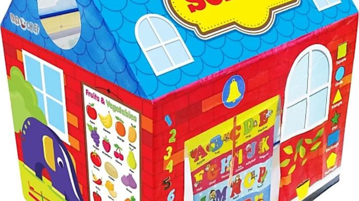 Play tent house for kids in school theme  (Multicolor)