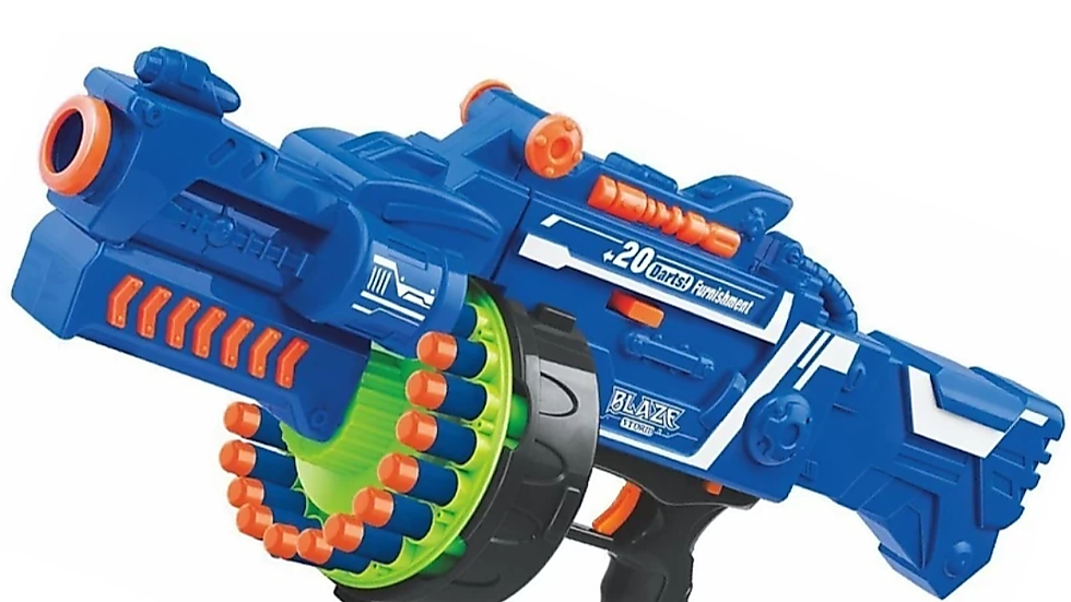 Soft Bullet Automatic Gun, Darts Included, Blue