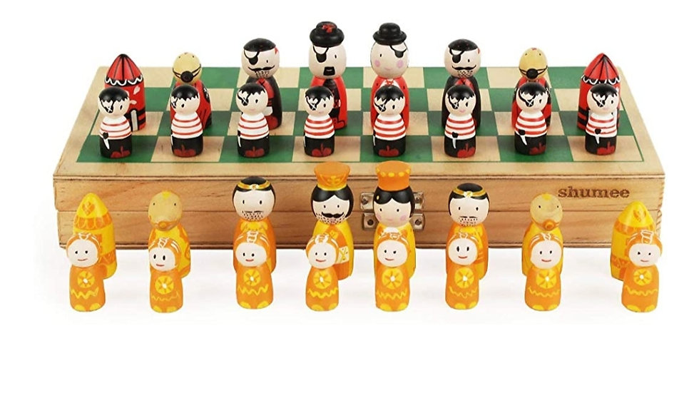 Shumee Wooden Chess Board Set in Colorful Pirates Vs Royals Theme