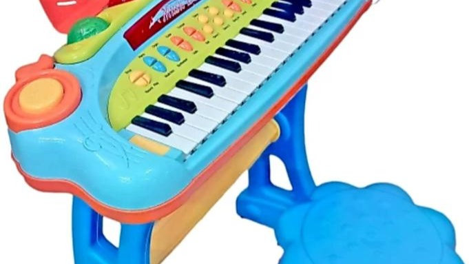 Musical Keyboard with Mike and Chair for Kids  (Blue)