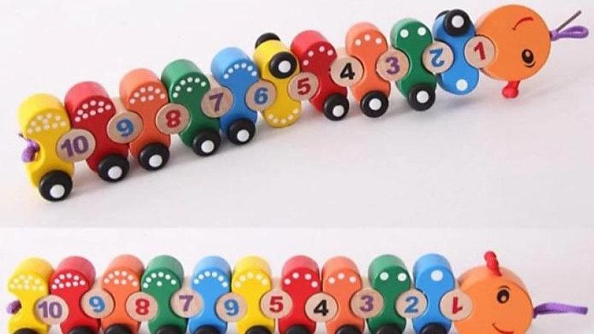 CrazyCrafts Wooden Number/Digital Train Blocks Set Toys