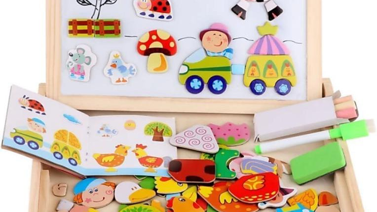 Assemble Wooden Educational Toy Magnetic Art Easel Animals Wooden Puzzles Games