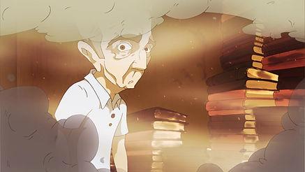Shot from the animated short film Wort Irkington's Hate Books