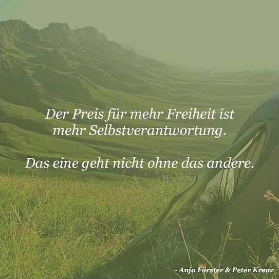 Preis der Freiheit ist Selbsverantwortung von Anja Förster und Peter Kreuz