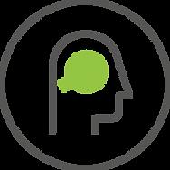 Icon of head with green bullseye