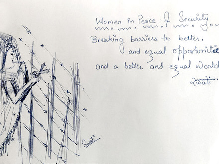 A drawing from Swati Dey from India about her idea of women in war & conflict