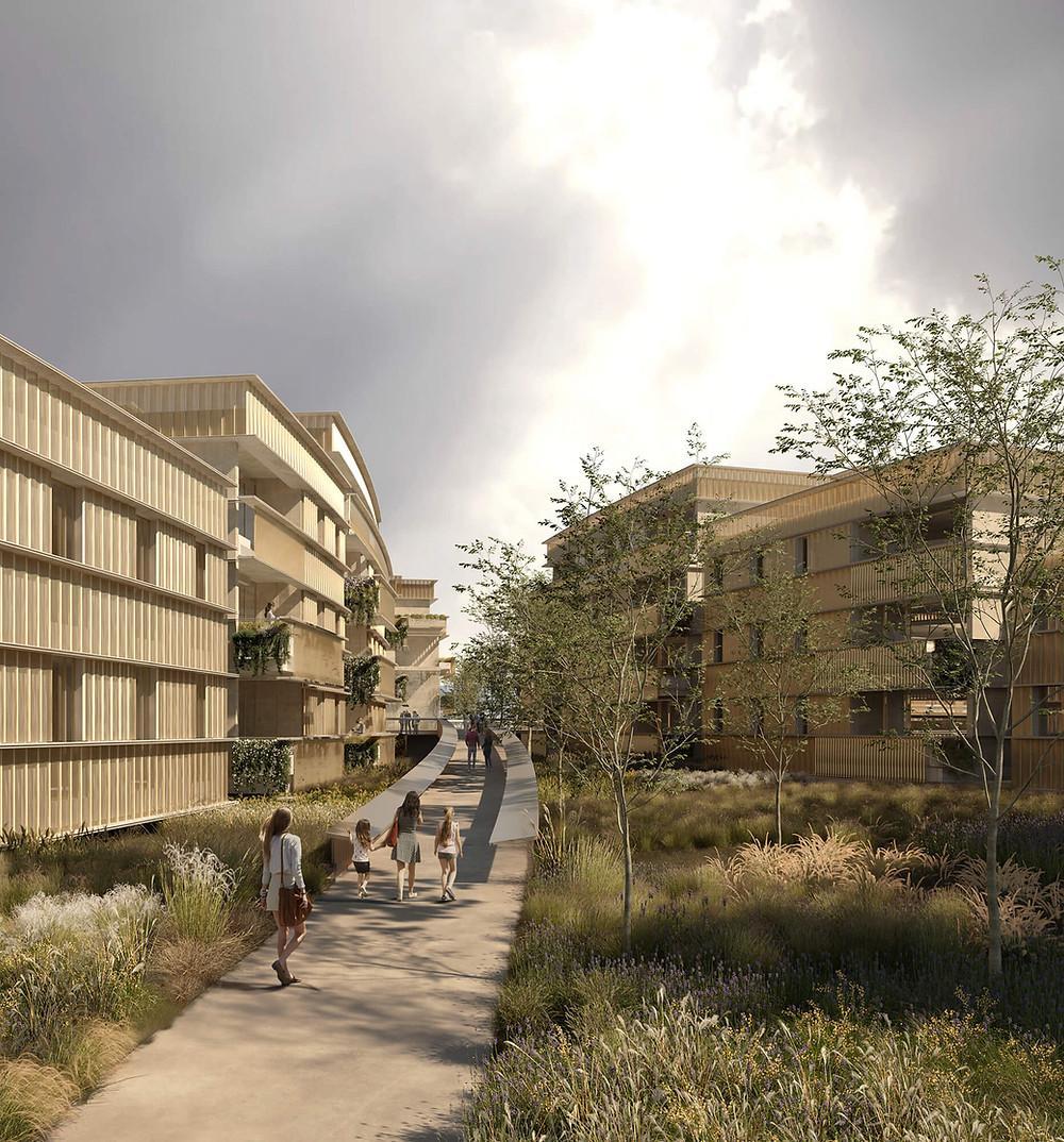 render 3d exterior proyecto residencial en burdeos