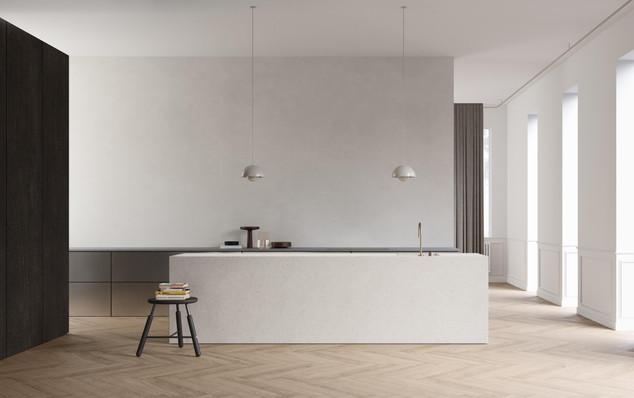 render interior cocina diseño bruselas