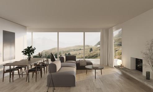 rendering interior house livingroom bern