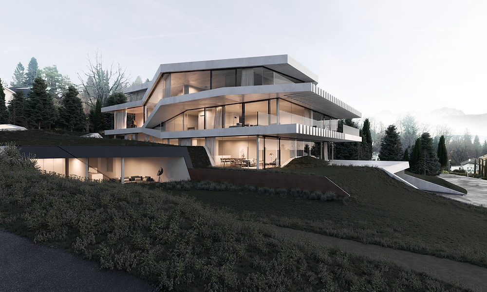 render 3d exterior vivienda