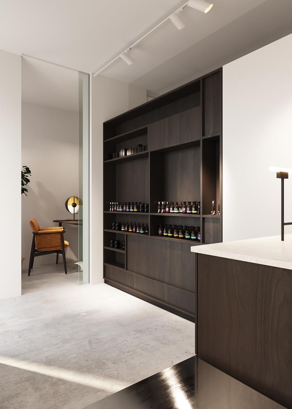 Interior design pharmacy render 02