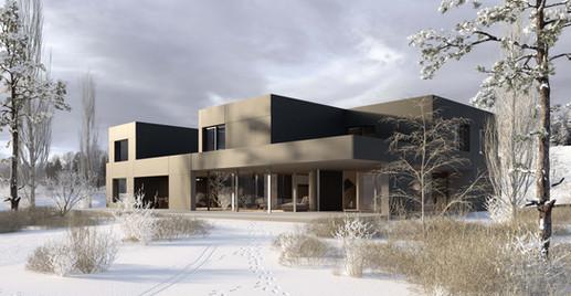 render casa exterior invierno hf architektur