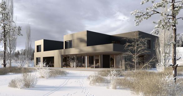 rendering house exterior winter hf architektur