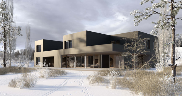 rendering house exterior winter hf architektur