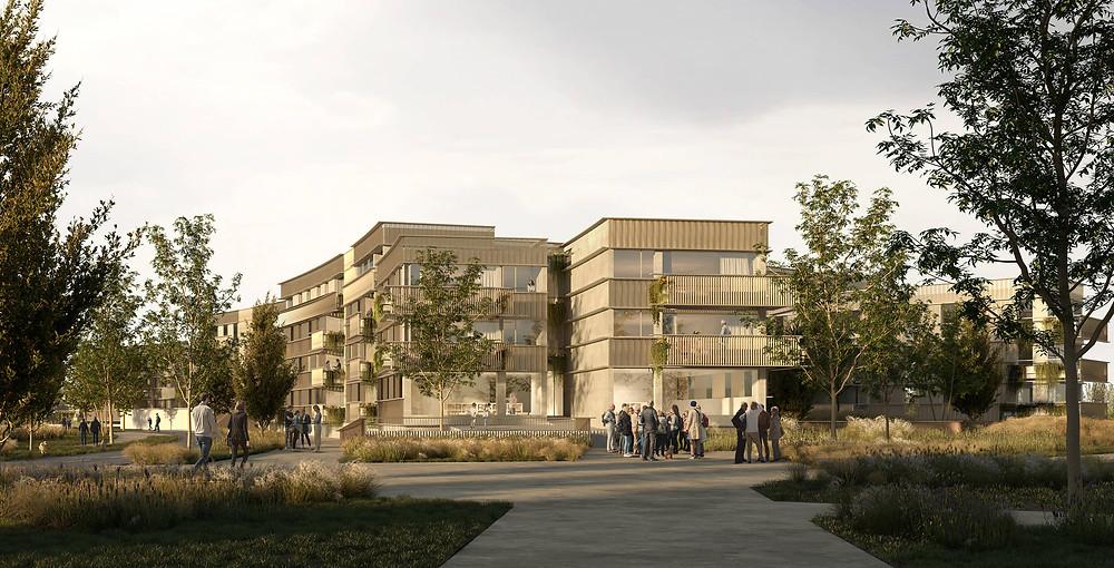 render exterior 3d proyecto residencial en burdeos