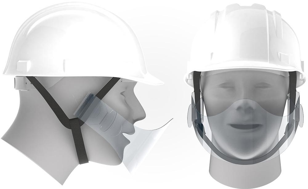 シールドの両端をヘルメットのあご紐に通して簡単に装着できます。装着したままヘルメットの脱着が可能です