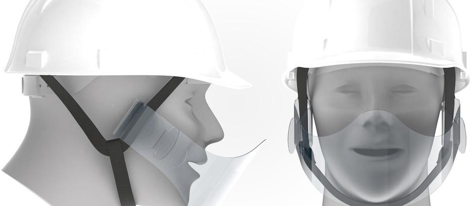 夏場の工場・作業現場で新型コロナウイルス飛沫拡散防止・防暑対策に、ヘルメットに装着するマウスシールド提供開始