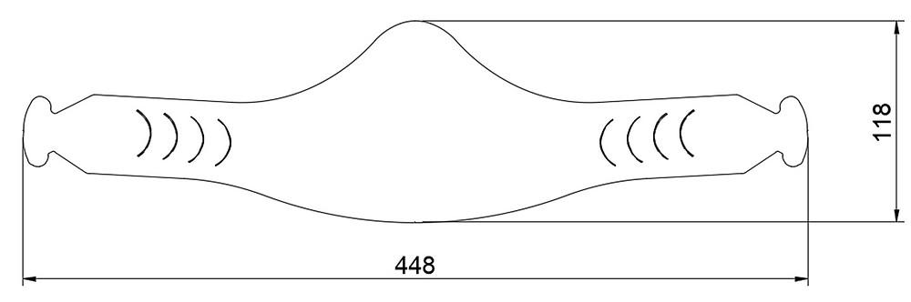 サイズ(平置き):幅448 x 高さ118 (mm)・重量:7グラム