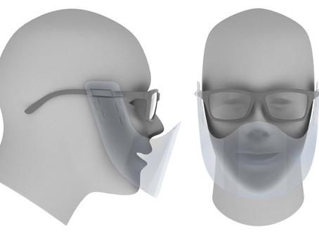 めがね・サングラスに取付け使用する、口・鼻に触れない透明マウスシールドの提供開始