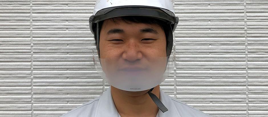 夏場の工場・作業現場における飛沫拡散防止の新しいエチケット。『ヘルメット装着型マウスシールド(半透明ホワイト)』の販売開始