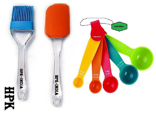 HPK-INDIA 5 pcs measuring spoons with silicon foodgrade brush and spatula