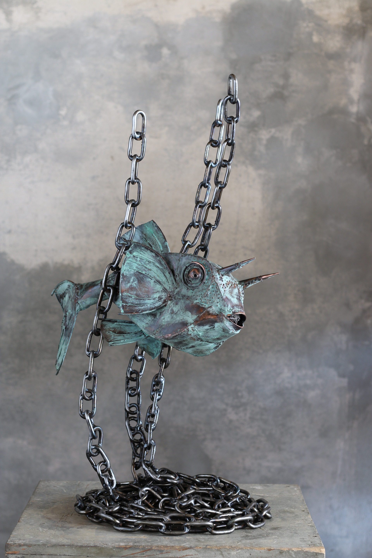 Submarine-cowfish-copper green patina and iron-h 85
