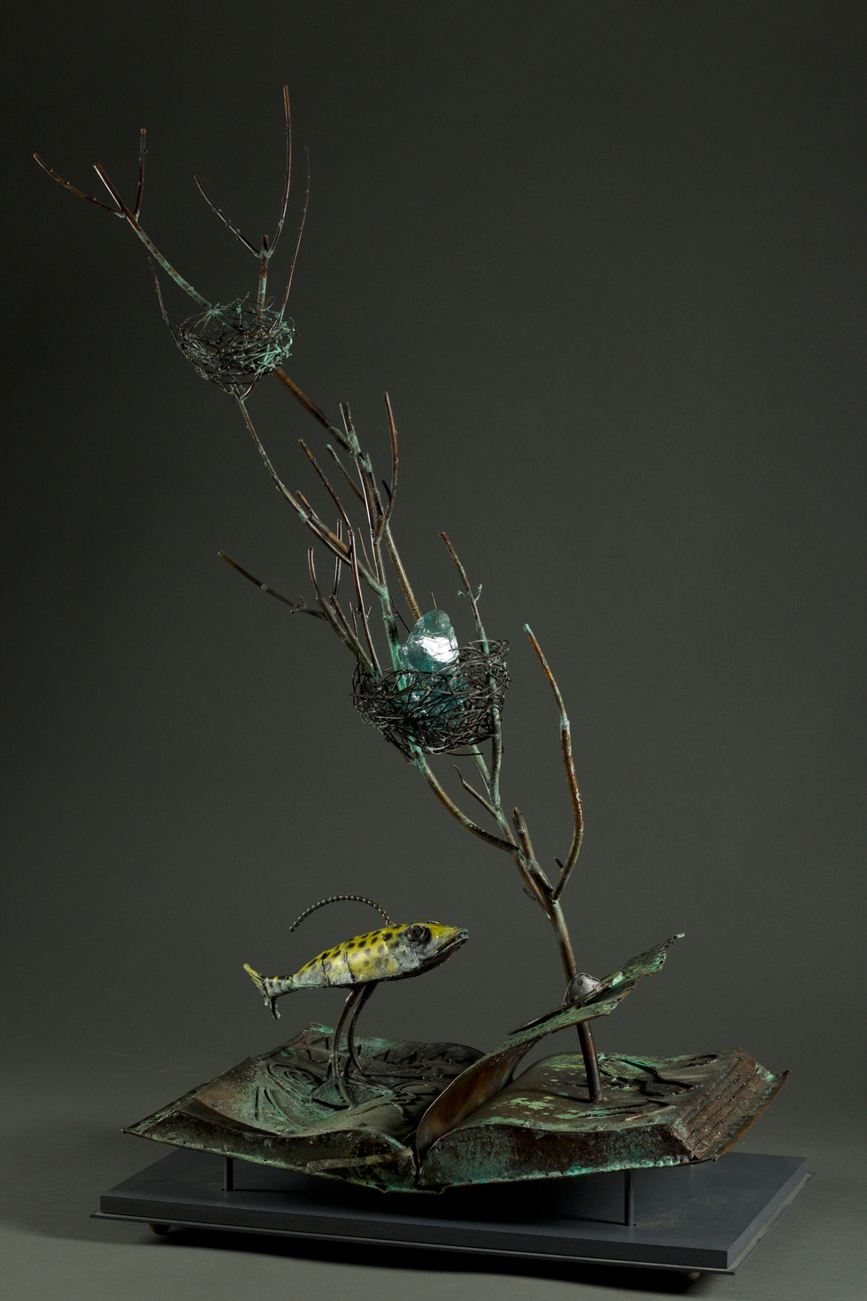 Palmipedo book treasure-copper and glass-patina and dyed