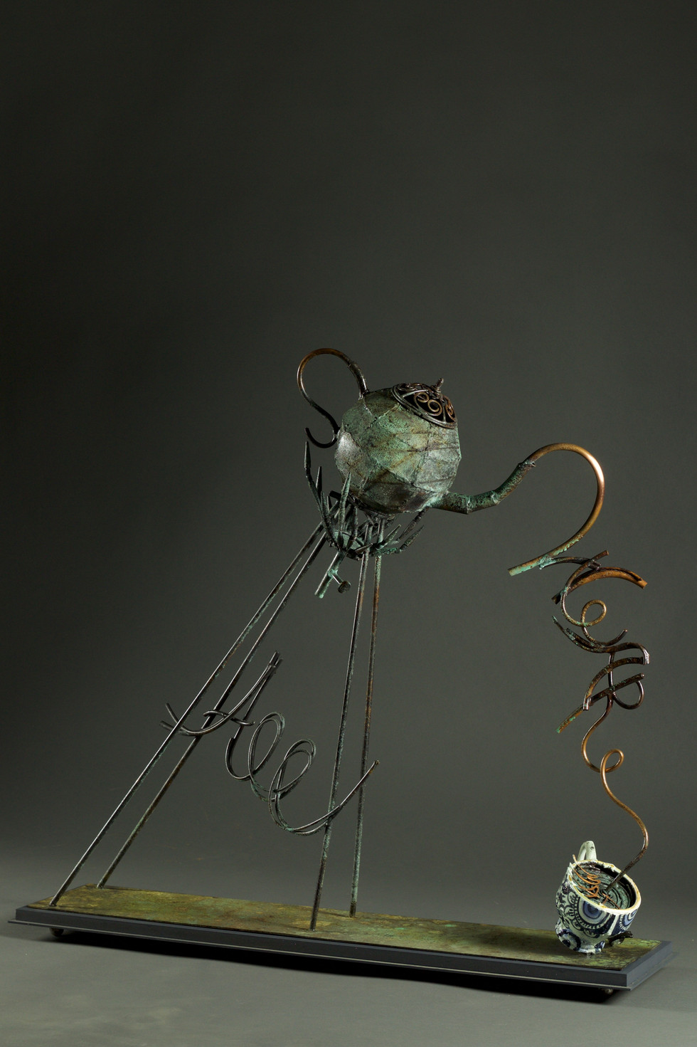 We are all mad-té-copper green patina and dyed-h 100