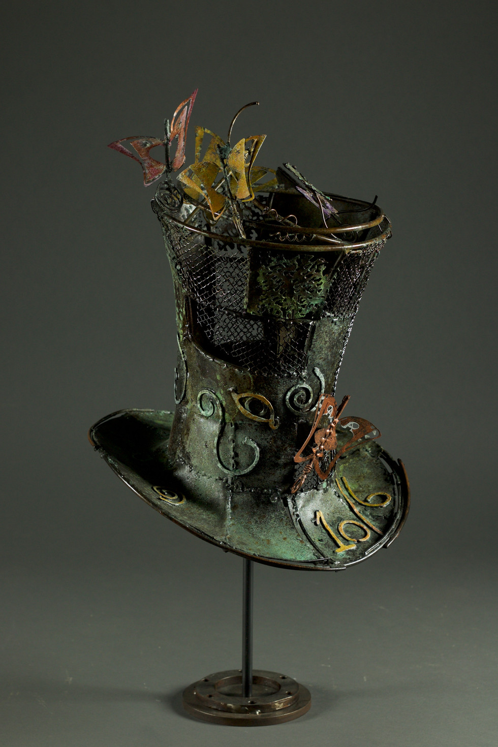 Mad hatter hat-copper black patina and dyed- h 80