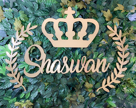 Custom Name with Crown & Leaves Wreath